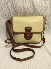Vintage COACH Beige/ Brown Pebbled Leather Trim /Crossbody.Made in Italy RARE