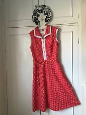 Vintage 60's 70's Red & white spot print dress 10 12 14