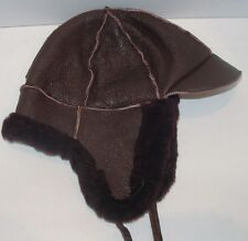 NEW handmade kids girls Burgundy Sheepskin winter-Aviator Hat Real Leather