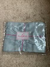 $665 NEW Ann Gish (Neiman Marcus) Big Diamond Blue Mist 100% Silk QUEEN Bedskirt
