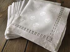 12 Vintage 21X22 Linen Damask Napkins Pansies Violas Teneriffe Drawnwork Lace