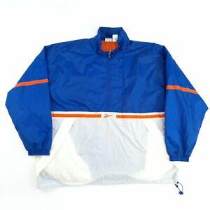 Vintage Reebok Windbreaker 1/2 Zip Jacket Blue 2XL