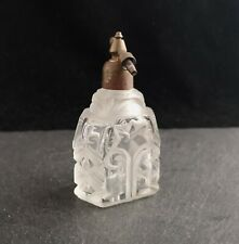 Vintage Art Deco cut and etched glass scent bottle, perfume atomiser