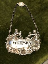 More details for novelty solid silver whiskey label,  english hallmarks. large & heavy.