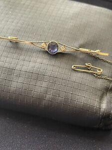 Sapphire and Diamond Bar Brooch 9ct Gold