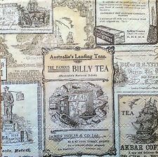 6 x Vintage PAPER Table Napkins (25cm x 25cm) / LABELS / Decoupage /Craft W/80