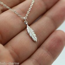 FEATHER CHARM NECKLACE - 925 Sterling Silver Bird Peacock Feather Pocohontas NEW
