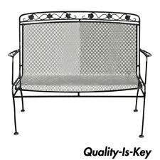 Vintage Russell Woodard Wrought Iron Garden Patio Bench Settee Chair Maple Leaf