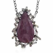 925 Sterling Silver Pendent Studded With Natural Ruby&Pave Baguette Diamond SE
