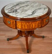 1910 Antique English Regency Mahogany banded burl walnut Marble top Center table