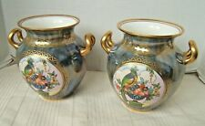2 MINTON LUSTERWARE VASES WITH PARROTS & URN W/ FRUIT VERY PRETTY