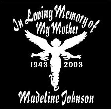 Two Personalized Guardian Angel Decals In Loving Memory of Name Dates Memorial