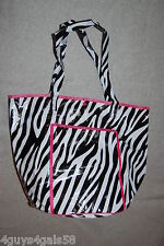 Tote Bag BEACH Black White ZEBRA STRIPE Round Bottom VINYL LINED Pink Accents