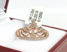 14k Solid Rose Gold Cute Crown Ring With VS Diamond 0.23CT, Size 6.5. Was $2200