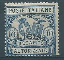 1929 LIBIA RECAPITO AUTORIZZATO 10 CENT D. 14 MNH ** - RR12774