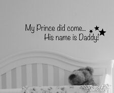 PRINCESS PRINCE NAME DADDY VINYL WALL DECAL BABY BEDROOM NURSERY CRIB STAR #12