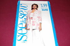 See & Sew Pattern # 5640 - Women's Jacket, Top, Skirt - Size 12-14-16 - NEW