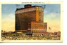 Ritz-Carlton Hotel-Crowd on Beach-Atlantic City-New Jersey-Vintage 1941 Postcard