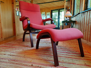 Armchair Vintage Stool Relaxing 60er Easy Chair Ottoman Danish Westnofa Era
