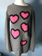 Sonia Rykiel Kids Girls Sweater Dress Hearts Cashmere/wool Grey 16