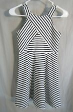 Zunie Girls Navy & White Stripe Dress Size 8 Back Zipper Flared Skirt Washable
