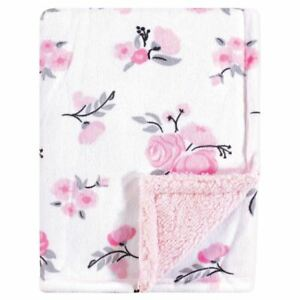 Hudson Baby Mink Blanket with Sherpa Backing, Floral