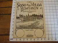 Vintage sheet music: SONG OF VOLGA BOATMEN, RUSSIAN BOATMEN'S CHANT, 1924