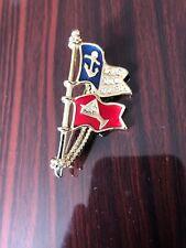 Danecraft Goldtone Rhinestone Double Flag Pin Brooch Anchor Martini