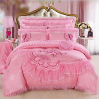 Bedding set 4 PCS embroidery cotton lace quilt bed sheet 2 pillowcase Red & Pink