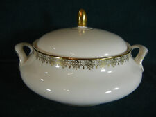 "Royal Doulton Gold Lace 9 3/4"" Handled Round Covered Serving Bowl with Lid"