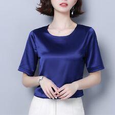 Women Satin Faux Silk Shirts Tops Short Sleeve Tee Tops Crew Neck Casual Slim