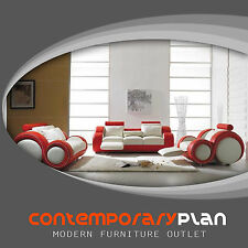 White and Red 3 Piece Living Room Franco Italian Design Set w Footrest 8 Shape
