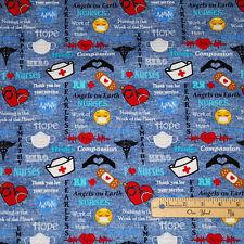 Nurse RN Hero Medical Nursing EKG Scrub Hat Mask Cotton Fabric  1/2 Yard  #10321