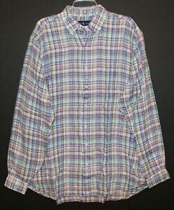 Polo Ralph Lauren Big & Tall Mens Plaid 100% Linen Button-Front Shirt NWT 2XLT