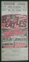 OLD BEATLES CONCERT POSTER 2 SIDED , ODEON LEEDS 1 SIDE, OTHER ODEON SOUTHPORT