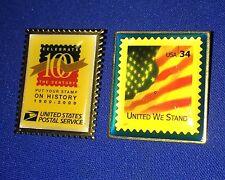 Lit If 2 USPS 2000 & 2002 Postage Stamp Lapel Pins ~ USA Flag & 100 Year Pin