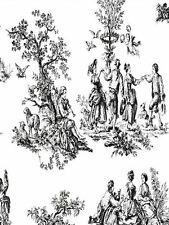 Black and White Toile French Country Pastoral  Wallpaper - CH22508