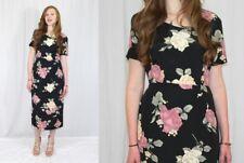 Vintage 80s Pink Cream 3D Rose Print Rayon Retro Secretary Day Midi Boho Dress M