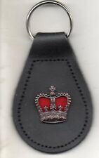 BRONZE CROWN VELVET BACKGROUND BRITISH ARMY KEY RING REAL ENGLISH LEATHER