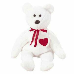 TY Beanie Baby - VALENTINO the White Bear (8.5 inch)