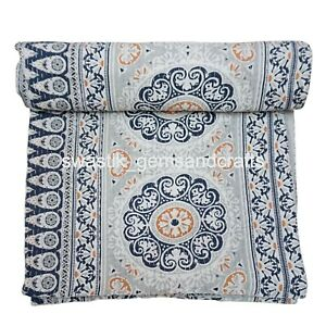 Indian Cotton Kantha Quilt Handmade Bedspread Floral Bed Cover Home Decorative