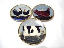 THREE LENOX 1994 Plates by Warren Kimble Barnyard Animals MINT