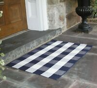 NANTA Navy Blue and White Buffalo Plaid Rug Cotton Washable Indoor Outdoor Woven