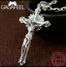 GAGAFEEL Solid Cross Necklaces Pendants for Men S925 Sterling Silver Necklace...