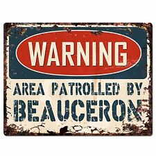 Pp2395 Warning Area Patrolled By Beauceron Plate Chic Sign Home Store Decor Gift