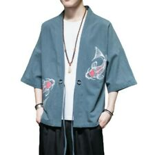 Men Cotton Linen Kimono Jacket Embroidered Cardigan Loose Japanese Style Outwear