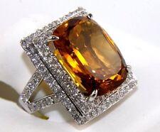 Fine Huge Radiant Citrine & Diamond Halo Solitaire Ring 14k White Gold 14.12Ct