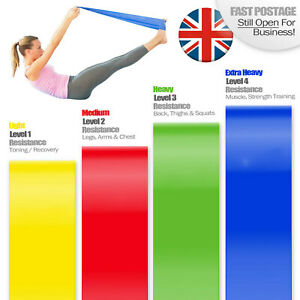 Resistance Pull Bands Pilates Yoga Home Exercise Latex Thera band 1.2m Long UK