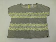 Aeropostale Womens Size XL Grey Green Lace Striped Sweatshirt Good Condition