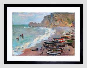 CLAUDE MONET BEACH AT ETRETAT OLD MASTER BLACK FRAMED ART PRINT B12X2612